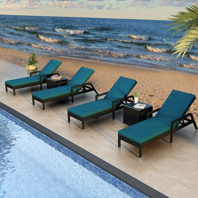 Eichhorn 6 Piece Lounge Seating Group with Cushion Finish: Coffee Bean, Fabric: Spectrum Peacock