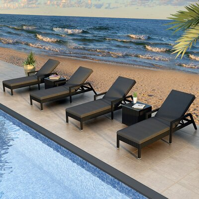 Eichhorn 6 Piece Lounge Seating Group with Cushion Finish: Coffee Bean, Fabric: Spectrum Indigo