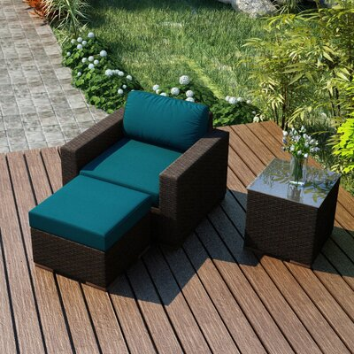 Arden 3 Piece Deep Seating Group with Cushion Fabric: Spectrum Peacock