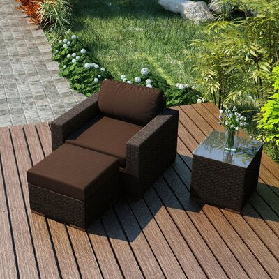 Arden 3 Piece Deep Seating Group with Cushion Fabric: Spectrum Coffee