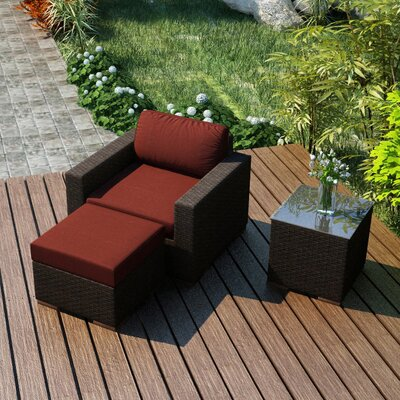 Arden 3 Piece Deep Seating Group with Cushion Fabric: Canvas Henna