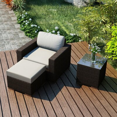 Arden 3 Piece Deep Seating Group with Cushion Fabric: Canvas Natural