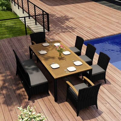 Arbor 7 Piece Dining Set with Cushion Fabric: Canvas Charcoal