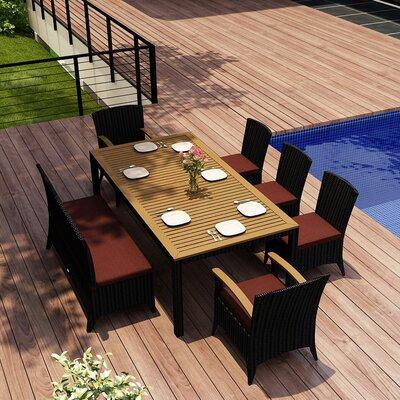 Garlyn 7 Piece Dining Set with Cushion Fabric: Canvas Henna