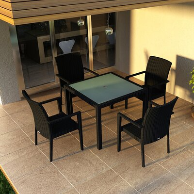 Eichhorn 5 Piece Wicker Dining Set Finish: Coffee Bean