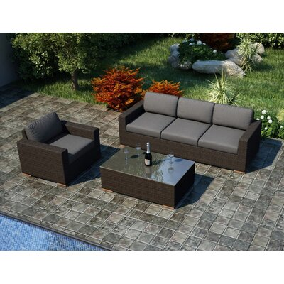 Arden 3 Piece Sofa Set with Cushions Fabric: Canvas Charcoal