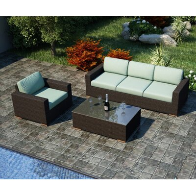 Arden 3 Piece Sofa Set with Cushions Fabric: Canvas Spa