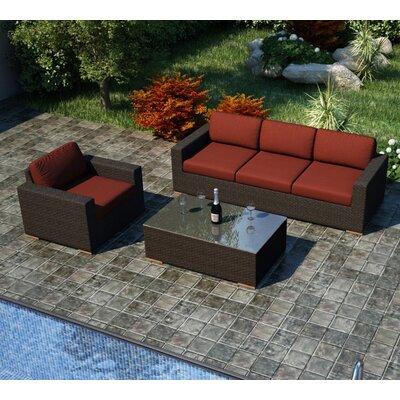 Arden 3 Piece Sofa Set with Cushions Fabric: Canvas Henna