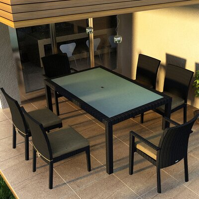Eichhorn 7 Piece Dining Set Finish: Coffee Bean, Fabric: Heather Beige