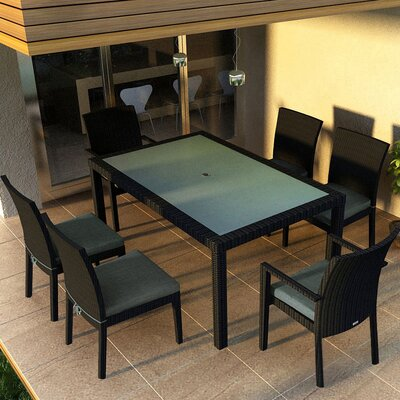 Eichhorn 7 Piece Dining Set Finish: Coffee Bean, Fabric: Spectrum Indigo
