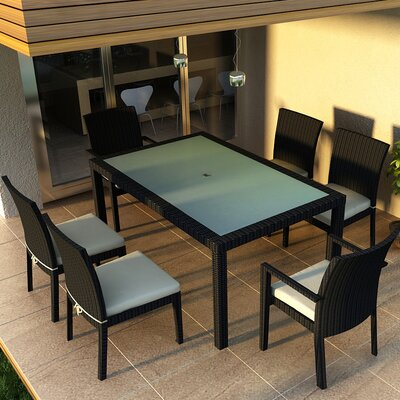 Eichhorn 7 Piece Dining Set Finish: Coffee Bean, Fabric: Canvas Natural