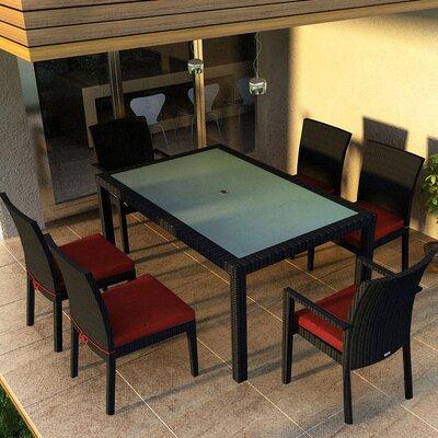 Eichhorn 7 Piece Dining Set Finish: Coffee Bean, Fabric: Canvas Henna