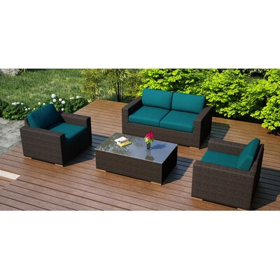 Arden 4 Piece Deep Seating Group with Cushion Fabric: Spectrum Peacock
