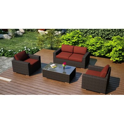 Arden 4 Piece Deep Seating Group with Cushion Fabric: Canvas Henna