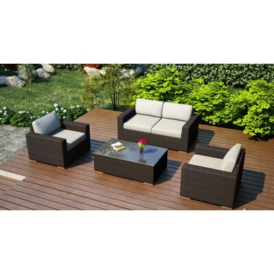 Arden 4 Piece Deep Seating Group with Cushion Fabric: Canvas Natural