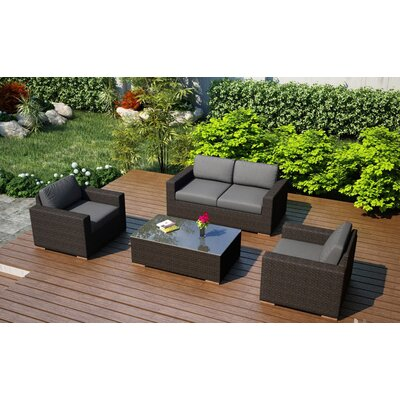 Arden 4 Piece Deep Seating Group with Cushion Fabric: Canvas Charcoal