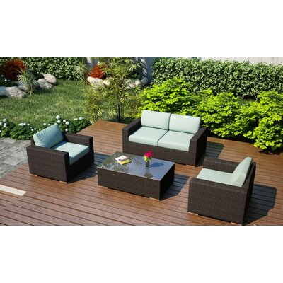Arden 4 Piece Deep Seating Group with Cushion Fabric: Canvas Spa