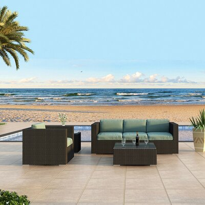 Eichhorn Contemporary 3 Piece Deep Seating Group with Cushion Fabric: Canvas Spa, Finish: Coffee Bean