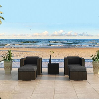 Eichhorn Contemporary 5 Piece Deep Seating Group with Cushion Fabric: Canvas Charcoal, Finish: Coffee Bean