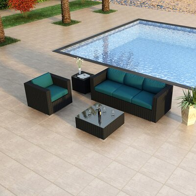 Eichhorn Contemporary 3 Piece Deep Seating Group with Cushion Fabric: Spectrum Peacock, Finish: Coffee Bean