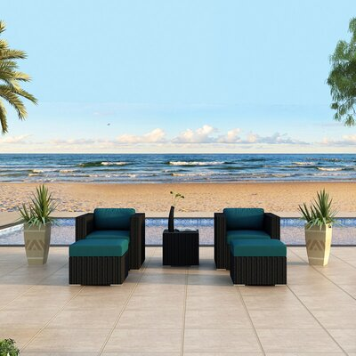 Eichhorn Contemporary 5 Piece Deep Seating Group with Cushion Fabric: Spectrum Peacock, Finish: Coffee Bean