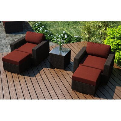 Arden 5 Piece Lounge Seating Group with Cushion Fabric: Canvas Henna
