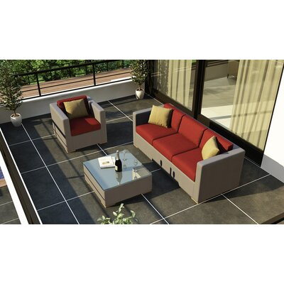 Element 3 Piece Deep Seating Group with Cushion Fabric: Canvas Henna
