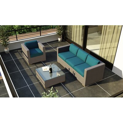 Element 3 Piece Deep Seating Group with Cushion Fabric: Spectrum Peacock
