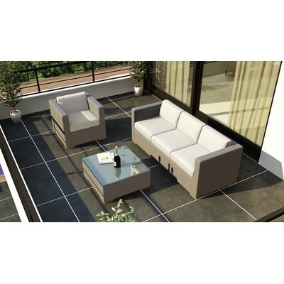 Element 3 Piece Deep Seating Group with Cushion Fabric: Canvas Natural