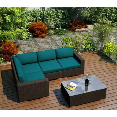 Arden 5 Piece Lounge Seating Group with Cushion Fabric: Spectrum Peacock