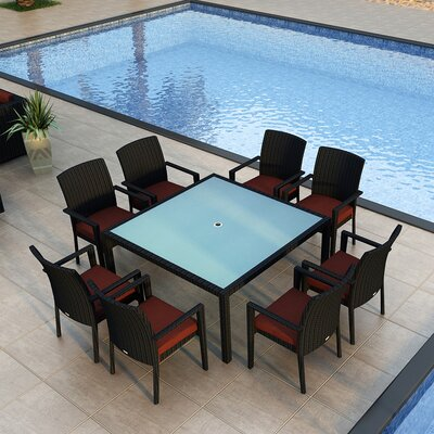 Eichhorn 9 Piece Wicker Dining Set with Cushion Finish: Coffee Bean, Fabric: Canvas Henna