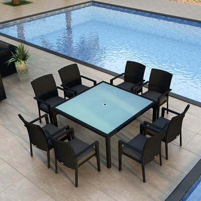 Eichhorn 9 Piece Wicker Dining Set with Cushion Finish: Coffee Bean, Fabric: Canvas Charcoal