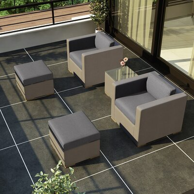 Element 5 Piece Deep Seating Group with Cushion Fabric: Canvas Charcoal