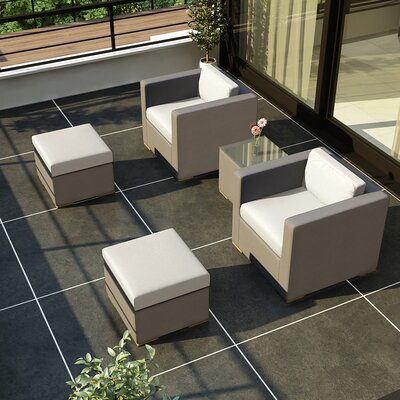 Element 5 Piece Deep Seating Group with Cushion Fabric: Canvas Natural