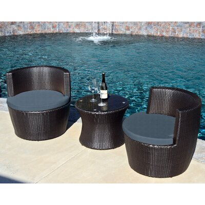 Pineapple 3 Piece Deep Seating Group with Cushion Finish: Coffee Bean, Fabric: Canvas Charcoal