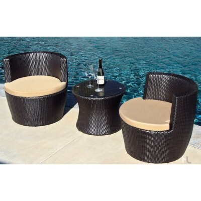 Pineapple 3 Piece Deep Seating Group with Cushion Fabric: Heather Beige, Finish: Coffee Bean