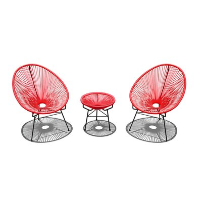 Ehrlich 3 Piece Lounge Seating Group with Cushion Seat Color: Candy Apple, Finish: White