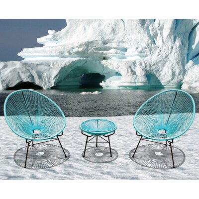 Ehrlich 3 Piece Lounge Seating Group with Cushion Finish: Black, Seat Color: Glacier Blue
