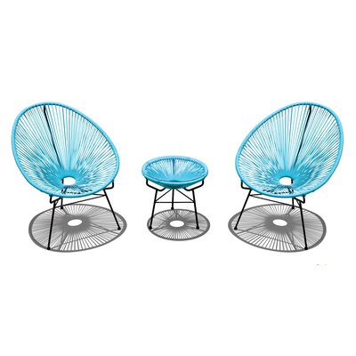 Acapulco 3 Piece Lounge Seating Group with Cushion Finish: Black, Seat Color: Glacier Blue