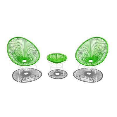 Acapulco 3 Piece Lounge Seating Group with Cushion Finish: White, Seat Color: Lime Green