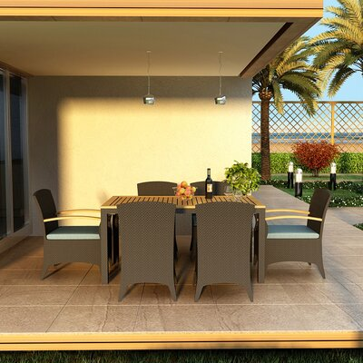 Arbor 7 Piece Dining Set with Cushions Fabric: Canvas Spa