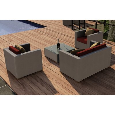 Element 4 Piece Deep Seating Group with Cushion Fabric: Canvas Henna
