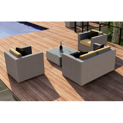 Element 4 Piece Deep Seating Group with Cushion Fabric: Heather Beige