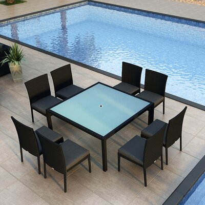 Eichhorn 9 Piece Dining Set with Cushion Finish: Coffee Bean, Fabric: Canvas Charcoal