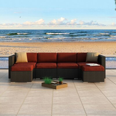Eichhorn Sectional Finish: Coffee Bean, Fabric: Canvas Henna