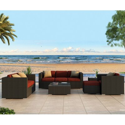 Eichhorn 5 Piece Deep Seating Group with Cushion Finish: Coffee Bean, Fabric: Canvas Henna