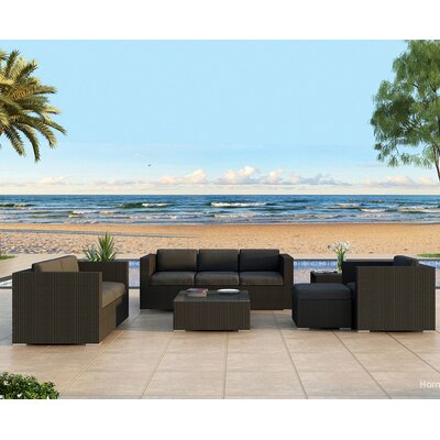 Urbana 5 Piece Deep Seating Group with Cushion Finish: Coffee Bean, Fabric: Canvas Charcoal