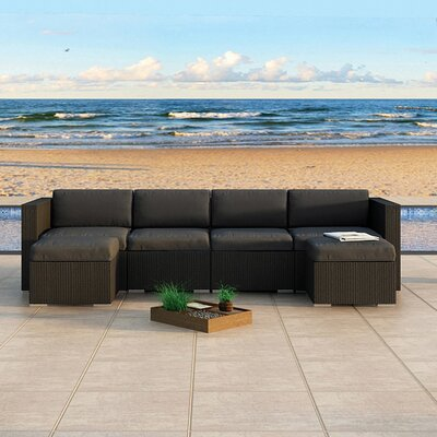 Eichhorn Sectional Finish: Coffee Bean, Fabric: Canvas Charcoal