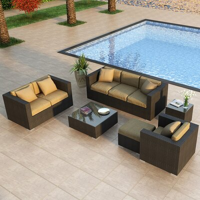 Eichhorn 5 Piece Deep Seating Group with Cushion Finish: Coffee Bean, Fabric: Heather Beige