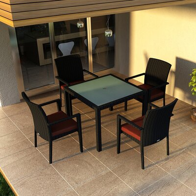 Eichhorn Contemporary 5 Piece Wicker Dining Set Finish: Coffee Bean, Fabric: Canvas Henna